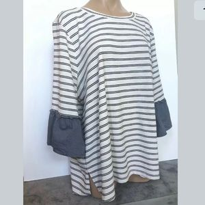Lane Bryant Size 22/24W Striped Bell Sleeve Top